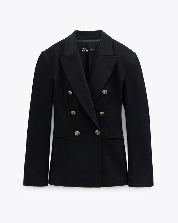 Σακάκι με χρυσαφί κουμπιά, Zara.